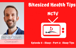 NCTV video front image thumbnail with the title and a cartoon TV with the Nicholas Coysh Osteopathy & Wellbeing logo