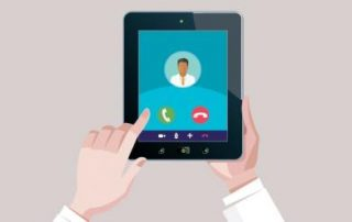 An animated picture of someone making a video call on a tablet
